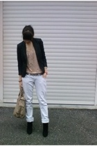 tunic Topshop top - black booties Zara shoes - blue boyfriend Zara jeans