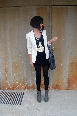 gray Stradivarius shoes - white H&amp;M blazer - gray Zara purse