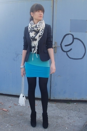white Zara scarf - black Zara shoes - black Calliope blazer