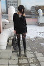 Black-amisu-dress-black-american-apparel-leggings-gray-stradivarius-shoes-