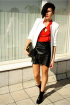 black romwe skirt - black Zara boots - white Zara coat - red romwe shirt