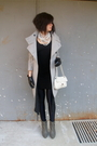 Gray-zara-coat-black-american-apparel-dress-white-aldo-purse-black-america