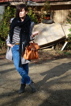 tawny Ebay bag - heather gray Stradivarius boots - blue vintage jeans