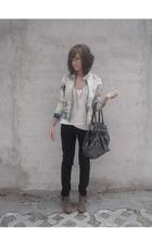 beige Aldo shoes - black trn jeans - blue bleached denim DIY jacket