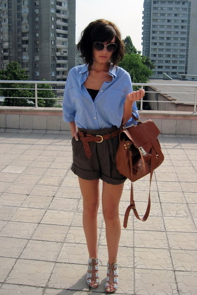 blue Topshop shoes - blue Mango shirt - green New Yorker shorts