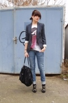 black studded Zara shoes - blue Zara blazer - black bag Zara accessories