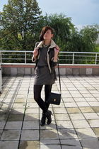 brown New Yorker jacket - black New Yorker boots - gray Mango dress