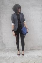 American Apparel dress - Zara blazer - New Yorker leggings - Zara accessories -