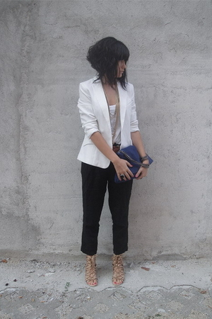 white H&amp;M blazer - beige lace-up unknown shoes - white H&amp;M top