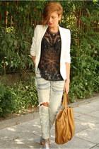 periwinkle shampalove shoes - sky blue DIY jeans - white Zara blazer - camel Zar