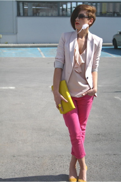 hot pink Zara jeans - light pink Zara blazer - yellow clutch H&M bag - yellow Za