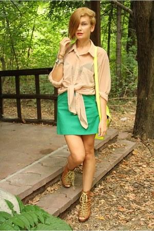 light brown asos shoes - nude American Apparel shirt