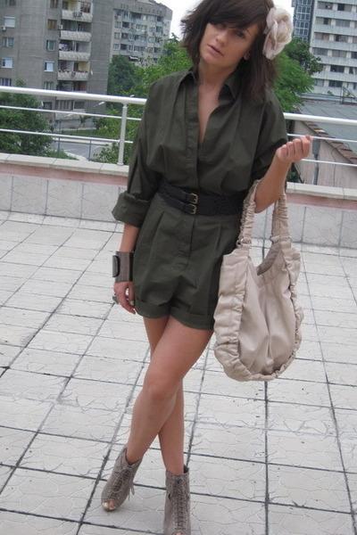 green jumpsuit Mango top - beige asos shoes - black Mango belt