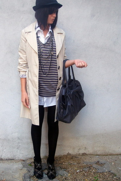 gray Zara top - black studded Zara shoes - beige trench coat H&M coat