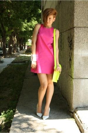 white Zara shoes - hot pink asos dress - yellow cambridge satchel bag