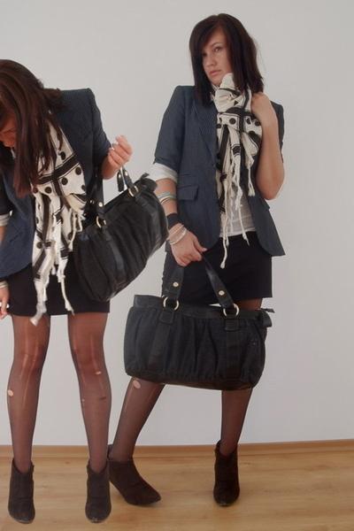 Zara blazer - Zara skirt - Zara scarf - blendshe shoes