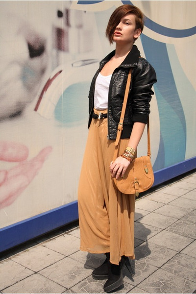 black H&M jacket - orange asos bag - light orange romwe pants