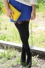 Yellow-h-m-bag-blue-zara-skirt-white-american-apparel-blouse