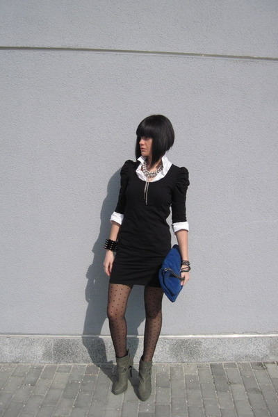 black H&M dress - gray Stradivarius boots - blue Zara accessories - silver Topsh