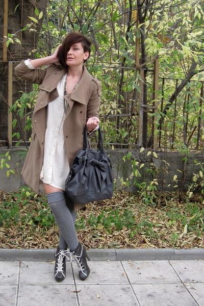gray Zara bag - charcoal gray asos boots - cream shirt asos dress