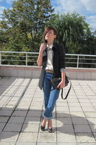 blue vintage jeans - beige vintage shirt - gray vintage blazer - beige vintage b