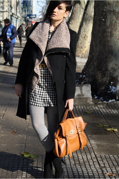 carrot orange Ebay bag - black Zara boots - black Zara coat