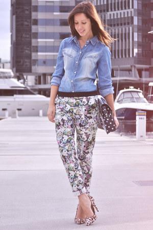 floral print Zara pants - navy polka dot Zatchels bag