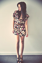 floral print romper - brown thrifted vintage belt - black platforms wedges