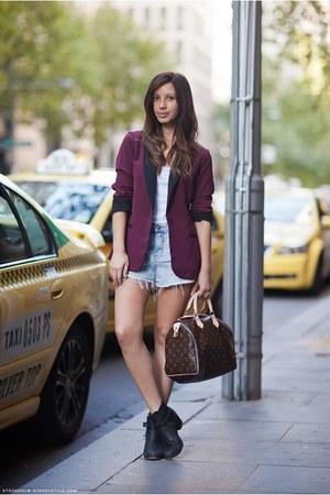 denim shorts shorts - biker boots tony bianco boots - Dotti blazer