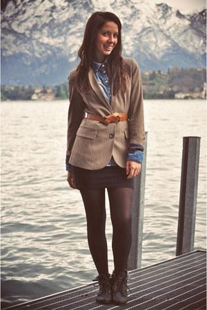 H&M blazer - blue Pimkie shirt - black flea market shoes - black DIY skirt
