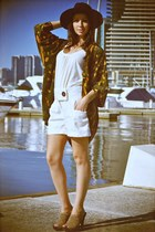 dark brown wool Sportsgirl hat - off white high waisted bardot shorts - dark kha