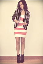 black Charlotte Russe shoes - pink dress - black Zara jacket
