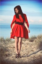 red cape dress - black lace belt