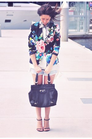 white asymetrical Disco Pony shirt - floral H&M blazer - black Chloe bag