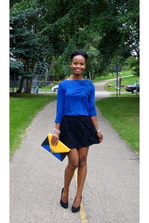 blue Anne Klein blouse - black BCBG pumps - black lace Forever 21 skirt