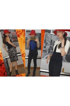 Zara boots - Sisley hat - Mango blazer - Zara scarf - swarovski earrings