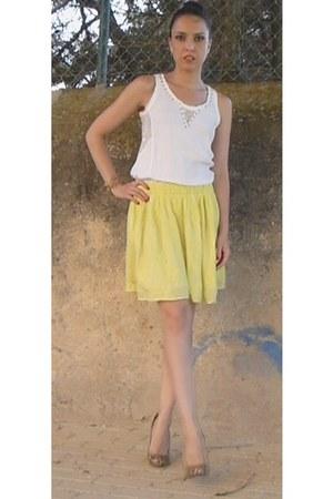 with gold studs Zara blouse - Zara skirt - rachel roy heels