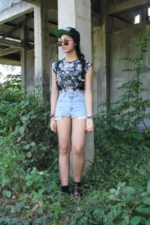 floral crop top Urban Outfitters top - snapback obey hat - diy shorts Lee shorts