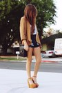 Camel-blazer-dark-brown-bag-navy-shorts-white-top-camel-heels