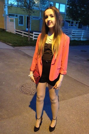 hot pink short GINA TRICOT blazer - gray tweeded Bershka romper