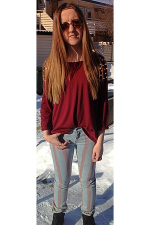 brick red crystals GINA TRICOT top - striped kohls jeans