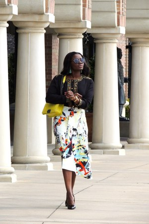 dark gray Zara skirt - black Christian Louboutin shoes - yellow Chanel bag