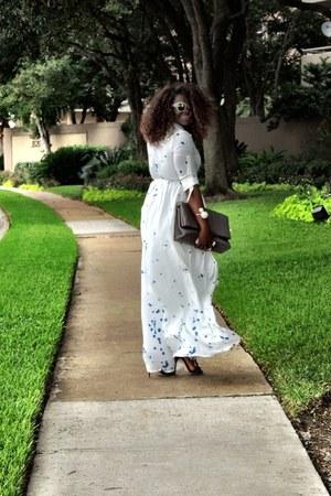 white Sheinsidecom dress - heather gray Zara bag - black Sophia Webster heels