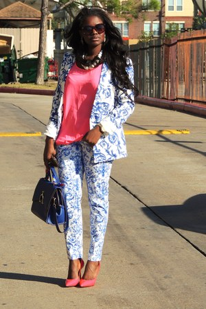 blue Zara blazer - blue Hermes bag - bubble gum Forever 21 blouse