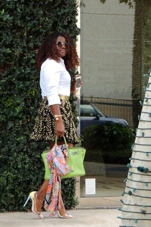 bubble gum Zara scarf - white Zara shirt - bronze virgos lounge skirt