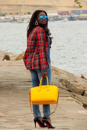 yellow Givenchy bag - blue Topshop jeans - red Boohoo blazer