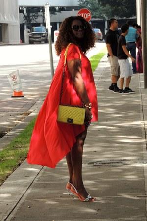 red Sheinsidecom dress - yellow Chanel bag - bubble gum Sophia Webster sandals