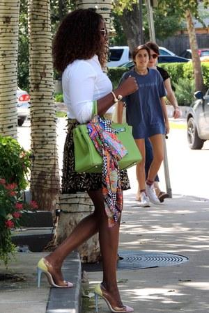 hot pink Zara scarf - white Zara shirt - green Hermes bag
