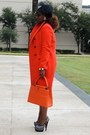 Red-zara-coat-carrot-orange-louis-vuitton-bag-white-venus-bodysuit
