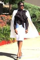 black Charlotte Olympia heels - ivory Zara coat - dark green asos shirt